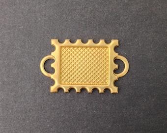 2 Loop Raw Brass Connector Setting Deep Scallop Edge 16x12mm (6) mtl358D