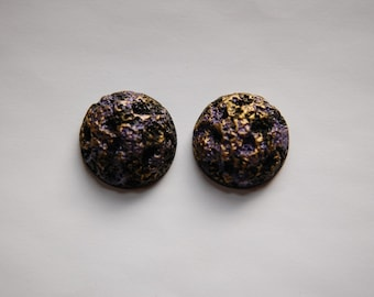 Vintage Purple and Gold Crater Domed Cabochons 25mm cab503A