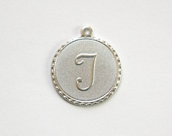 Matte Silver Plated Letter T Initial Charm Drop with Loop (1) chr197T