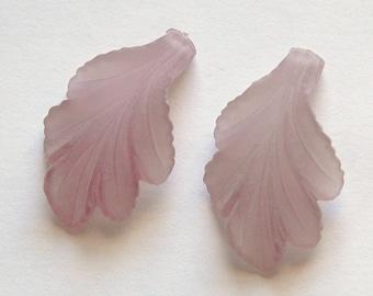 Vintage Matte Purple Lucite Leaf Pendant Drop pnd003
