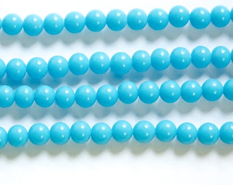 Vintage Blue Turquoise Glass Beads Japan 6mm (10)  jpn001H