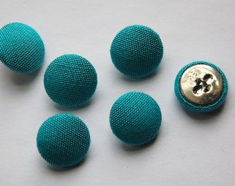 Vintage Turquoise Blue Silk Buttons 15mm btn002A