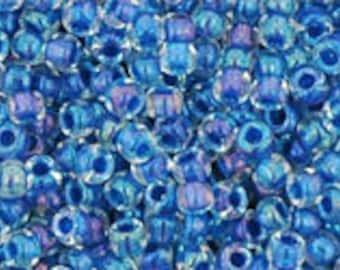 "Inside Color Luster Crystal/ Caribean Blue Lined Toho Seed Bead 11/0 2.5"" Tube TR-11-189/C"