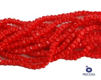 Preciosa Opaque Red Glass Czech Pellet Beads 4x6mm (50) czh027F