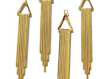 Raw Brass Long Deco Drop with Triangle and Loop mtl372