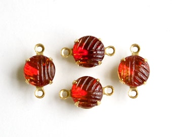 Vintage Etched Cranberry Topaz Glass Stone 2 Loop Brass Setting Drops 8.5mm (4) rnd009H2