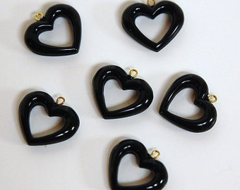 Vintage Acrylic Black Open Center Heart Charms Drops chr005B