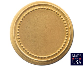 Raw Brass Flat Beaded Edge Setting 18mm (12) stn030F