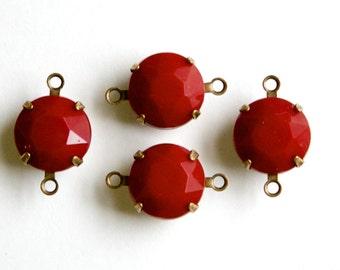 Vintage Burgundy Faceted Glass Stones 2 Loop Brass Ox Settings 12mm rnd011AA2