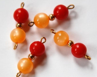 Vintage Beige Moonglow Red Beaded Drops Connector drp061A