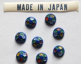Vintage Blue Floral Etched Glass Cabochons Japan 7mm cab419B