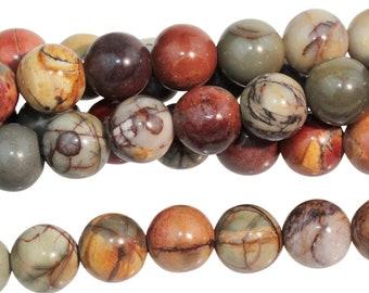 "Dakota Stones Red Creek Jasper 6mm Round Gemstones. 8"" Strand. RCJ6RD-8"