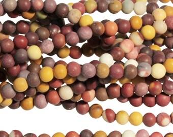 """Dakota Stones Matte Mookaite 4mm Round Gemstones. 8"""" Strand. MKT4RD-M-8"""