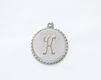 Matte Silver Plated Letter K Initial Charm Drop with Loop (1) chr197K