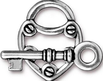 TierraCast Antiqued Silver Toggle Lock and Key Clasp Set (2) 25mm TC94-6170-12