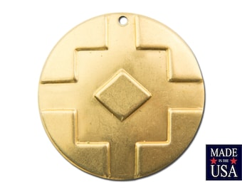 1 Hole Raw Brass Southwestern Drop / Pendant 25mm (4) mtl474A