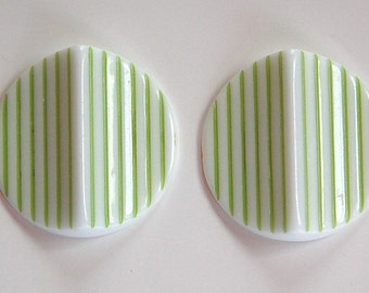 Vintage Acrylic Green and White Striped Pinched Retro Cabochons cab798B