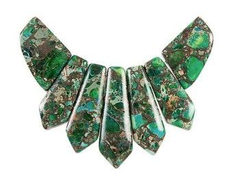 Dakota Stones Green Impression Jasper & Pyrite Pendant Gemstones. 7 Pc Set. GRNPYR-PT-PEN-7