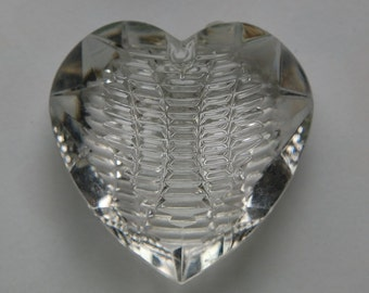 Vintage Etched Puffy Heart  Crystal Clear Pendant pnd075