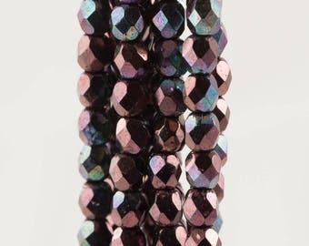 Czech Faceted Luster Metallic Amethyst Firepolish Glass Beads 4mm (50)