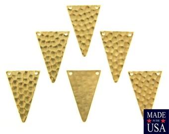2 Hole Raw Brass Geometric Narrow Hammered Triangle Pendant Charm 30x19mm (6) mtl512F