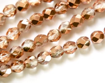 Czech Half Crystal Half Copper Faceted Glass Beads 6mm (25) czh024B
