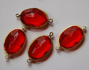 2 Loop Brass Channel Set Faceted  Red Acrylic Charms chr165