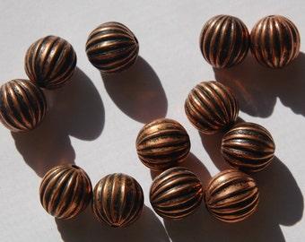 Vintage Antiqued Copper Pleated Melon Beads bds226