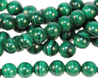 "Dakota Stones Malachite 6mm Round Beads Gemstones. 8"" Strand. MLT6RD-8"