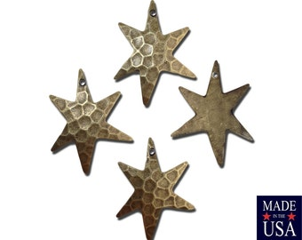 1 Hole Hammered Brass Ox Star Pendant Drops (4) mtl411C
