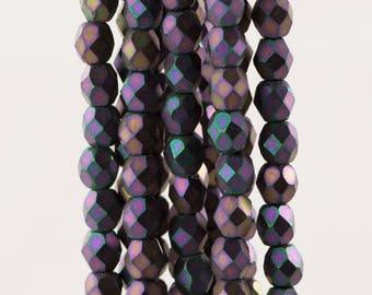 Czech Faceted Matte Iris Purple Firepolish Glass Beads 4mm (50)