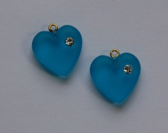Vintage Matte Light Blue Heart Charm with Rhinestone chr104C