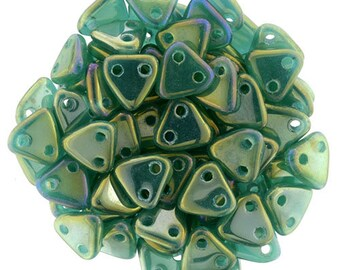 Luster Iris Atlantic Green CzechMates Triangle 2 Hole Glass Beads 6mm (50)