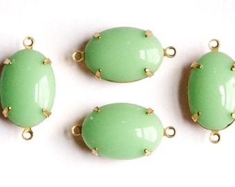 Vintage Opaque Green Stone in 2 Loop Brass Setting 16x11mm ovl008G2