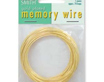"""Beadsmith Gold Plated Memory Wire 2 1/4"""" Diameter, 1 Ounce"""