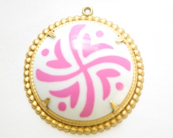 Pop Color Pink Design Cab in Brass Findings Earrings or Pendant  (2) pnd166G