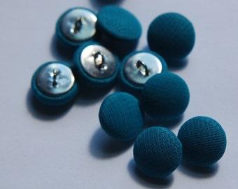 Vintage Dark Teal Blue Silk Buttons 13mm btn003C