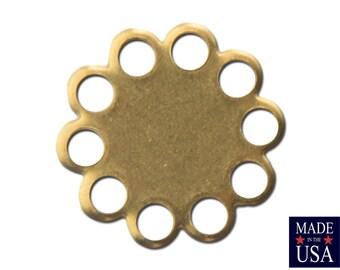 Raw Brass Lace Edge Round Flat Pad Settings 9mm (12) stn030G