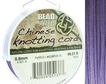 Purple Chinese Knotting Cord (.8mm/.031in) 15m/16.4yds