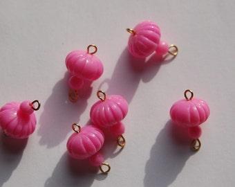 Vintage Pink Melon Bead Drops Connectors Japan bds022A