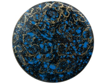 Vintage Metallic Gold Blue and Black Acrylic Cabochons 37mm (2) cab838A