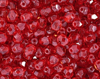 Czech Faceted Siam Ruby Firepolish Glass Beads 4mm (50) 1-04-9008