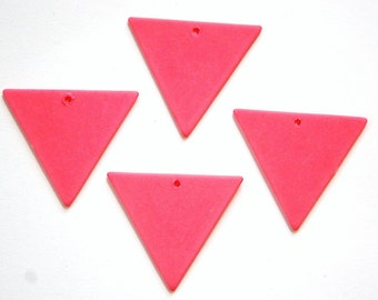 Vintage Bottom Hole Plastic Pink Triangle Charm Pendant chr017