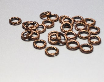 Antique Copper Plated Twist Jump Rings Open 18G 6mm OD (100) fnd205C
