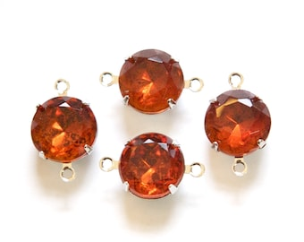 Vintage Madeira Topaz Faceted Glass Stones 2 Loop Silver Settings 12mm rnd005BB2