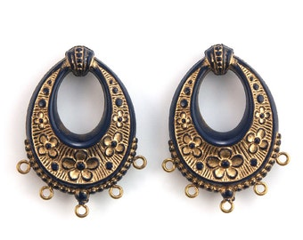 Vintage Navy Blue with Gold Floral Chandelier Pendants Earrings 40x30mm (2) pnd065