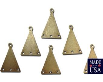 mtl145D 6 1 Hole Gold Plated Flat Geometric Triangle Pendant Charm