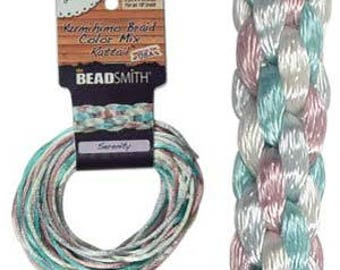 Kumihimo Rattail Color Mix Serenity, 4 Braids x 3 Yards each, 2mm Diameter