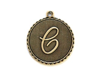 Brass Ox Letter C Initial Charm Drop with Loop (1) chr195C