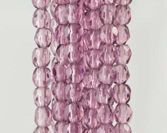 Firepolish Czech Faceted Amethyst Glass Beads 3mm (50)